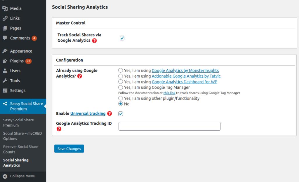 Sassy Social Share Premium Demo Google Analytics Options